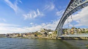 View of Dom Luis Bridge over Douro river in City of Porto, Portugal stock footage