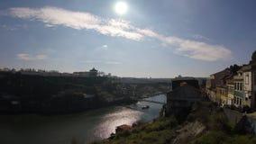 A view of Dom Luis bridge, Porto. A view of Dom Luis bridge. Bridge designed by Gustave Eiffel, Porto, Portugal stock video footage
