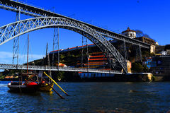 View of Dom Luis Bridge in Porto. The Dom Luis Bridge, a double-decked metal arch bridge that spans the Douro River between the cities of Porto and Vila Nova de royalty free stock photography