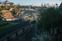 View of Dom Luis I bridge in Porto`s historical centre Stock Photos