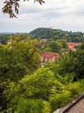 City of Freising and Weihenstephan. View from the Domberg in the city of Freising to the south-west over part of the city; in the back on the right side the Stock Image