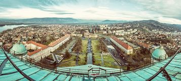 View from dome of the basilica, Esztergom, Hungary, old filter Stock Image