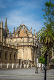 A view of the dome of the Gothic cathedral in Seville, Spain, Eu. The dome of the Gothic cathedral in Seville, Spain, Europe on a bright summer day with blue Royalty Free Stock Photography