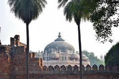 View of the dome of Isa Khan`s tomb in Delhi stock images