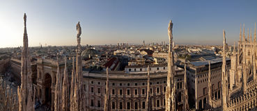 View from Dome of Milan. With statues and Vittorio Emanuele II Gallery Stock Images