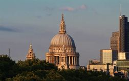 The view of the dome of Saint Paul`s Cathedral, City of London. royalty free stock images