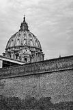 View of the dome of Saint Peter in black and white Royalty Free Stock Photo
