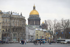 View of the dome of St. Isaac's Cathedral from Palace square cloudy december day Stock Images