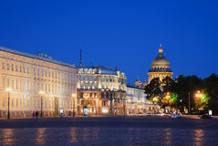 View of the dome of St. Isaac's Cathedral from Palace square summer night. St. Petersburg Royalty Free Stock Photos