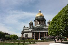 View of the dome of St. Isaac`s Cathedral in  Petersburg royalty free stock images