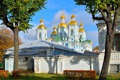 View of the dome of St. Nicholas Maritime Orthodox Cathedral fro. M the embankment of the Kryukov canal. Architecture and the urban landscape royalty free stock photo