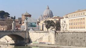 View of the Dome of St. Peter from Castel Sant`Angelo stock video footage