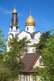 View on the dome of St. Peter and Paul Church. Sestroretsk, Russia. View on the dome of St. Peter and Paul Church, sunny may day. Sestroretsk, Russia royalty free stock image