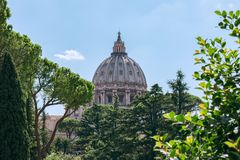 View of the dome of St. Peter Vatican City, Rome, Italy stock image