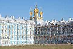 View on the domes of the resurrection Church of the Catherine Palace, april day. Tsarskoye Selo Stock Image