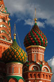 View on domes of St. Basil's Cathedral on Red Square in Moscow Stock Photo