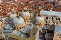 View of the domes of St. Mark`s church in Venice Stock Photo