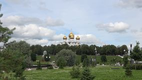 View of the domes of the Uspensky Cathedral on the arrow of the rivers Volga and Kotorosl. Yaroslavl. View of the domes of the Uspensky Cathedral on the arrow of stock video