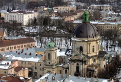View on the Dominican Church. Lviv at winter, view on the Dominican Church Stock Image