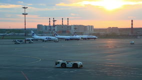 View at Domodedovo airport territory, Moscow stock video footage
