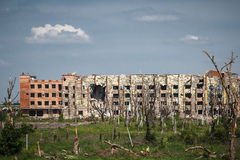 View of donetsk airport ruins Stock Image