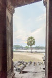 View from the door, Angkor Wat, Siem Reap, Cambodia. Royalty Free Stock Image