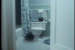 View through door to bathroom stock video footage