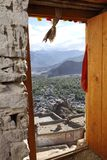 A view from the door of the Tsemo Monastery, focus on the landcaspe, Leh Stock Photography