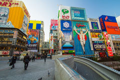 View of Dotonbori canal landmark of Osaka, Japan Royalty Free Stock Image
