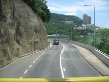 View from a double decker bus near Repulse bay, Hong Kong royalty free stock photo