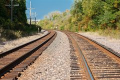 View of double steel railroad tracks royalty free stock photography