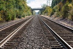 View of double steel railroad tracks stock image