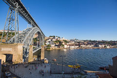 View of Douro river and coasts of Ribeira and of Vila Nova de Gaia Stock Photo