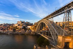 View of Douro river and Dom Luis I bridge, Porto Royalty Free Stock Image