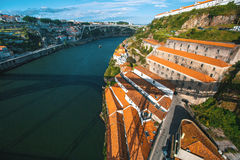 View of Douro river from Dom Luis I bridge, Porto Stock Photo