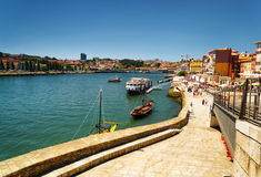 View of the Douro River and embankment in Porto, Portugal. Royalty Free Stock Images