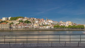 View of the Douro River from embankment timelapse stock footage