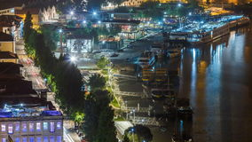 View of the Douro River and embankment timelapse. View of the Douro River and embankment at night timelapse in Porto, Portugal. Porto is one of the most popular stock video footage