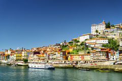 View of the Douro River and historic centre of Porto, Portugal. Royalty Free Stock Photo