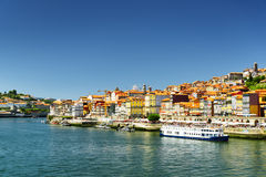 View of the Douro River and historic centre of Porto, Portugal. Stock Images