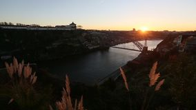 View of Douro River at old Porto. Portugal stock video footage