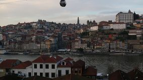 View of Douro River at old Porto, Portugal. Travel. stock footage