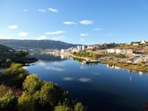 View of the Douro river from the pedestrian bridge of Regua, Portugal royalty free stock images