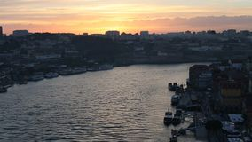 View of Douro river of Ribeira District in Porto, Portugal stock video footage