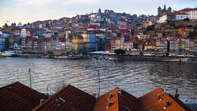 View of Douro river, Ribeira at old town Porto Royalty Free Stock Image