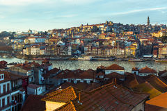View of Douro river, Ribeira at old town Porto from Villa Nova de Gaia Royalty Free Stock Photos