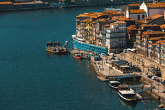 View of Douro river and Ribeira in Porto Stock Images