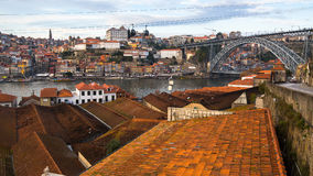 View of Douro river and roofs houses at old town Porto Royalty Free Stock Photo