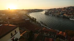 View of Douro river during sunset at Porto, Portugal. Travel. stock video