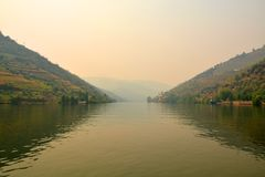 View from the Douro river to Pinhao, vilage in Portugal Royalty Free Stock Image